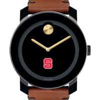 NC State Men's Movado BOLD with Brown Leather Strap