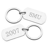 SMU Sterling Silver Dog Tag Key Ring