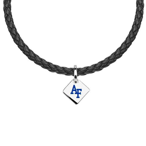 Air Force Academy Leather Necklace with Sterling Silver Tag