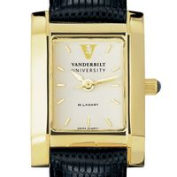 Vanderbilt Women's Gold Quad Watch with Leather Strap