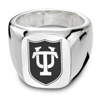 Tulane University Sterling Silver Rectangular Cushion Ring