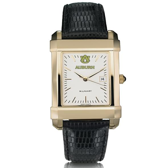 Auburn Men's Gold Quad with Leather Strap