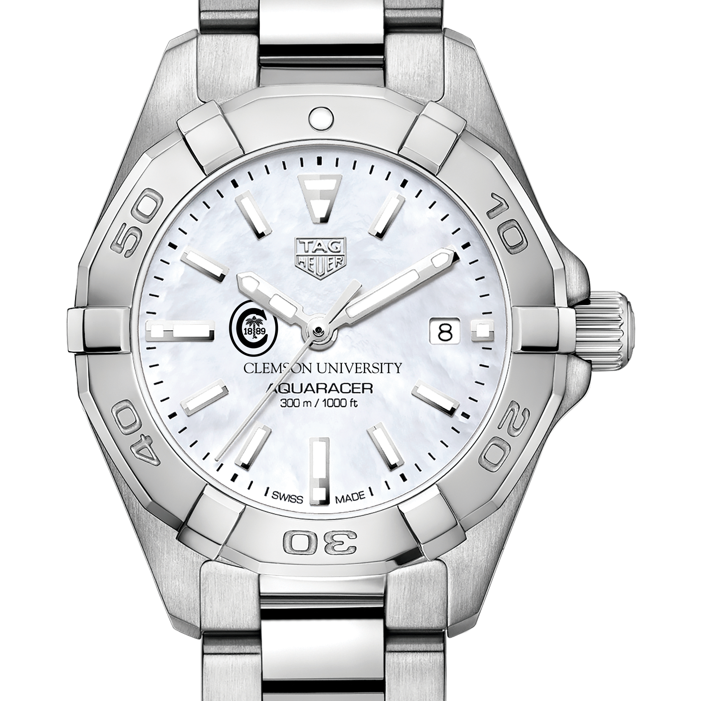 Clemson Women's TAG Heuer Steel Aquaracer with MOP Dial
