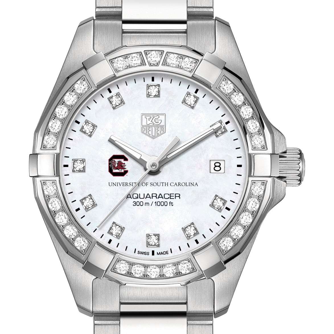 South Carolina Women's TAG Heuer Steel Aquaracer with MOP Diamond Dial & Diamond Bezel