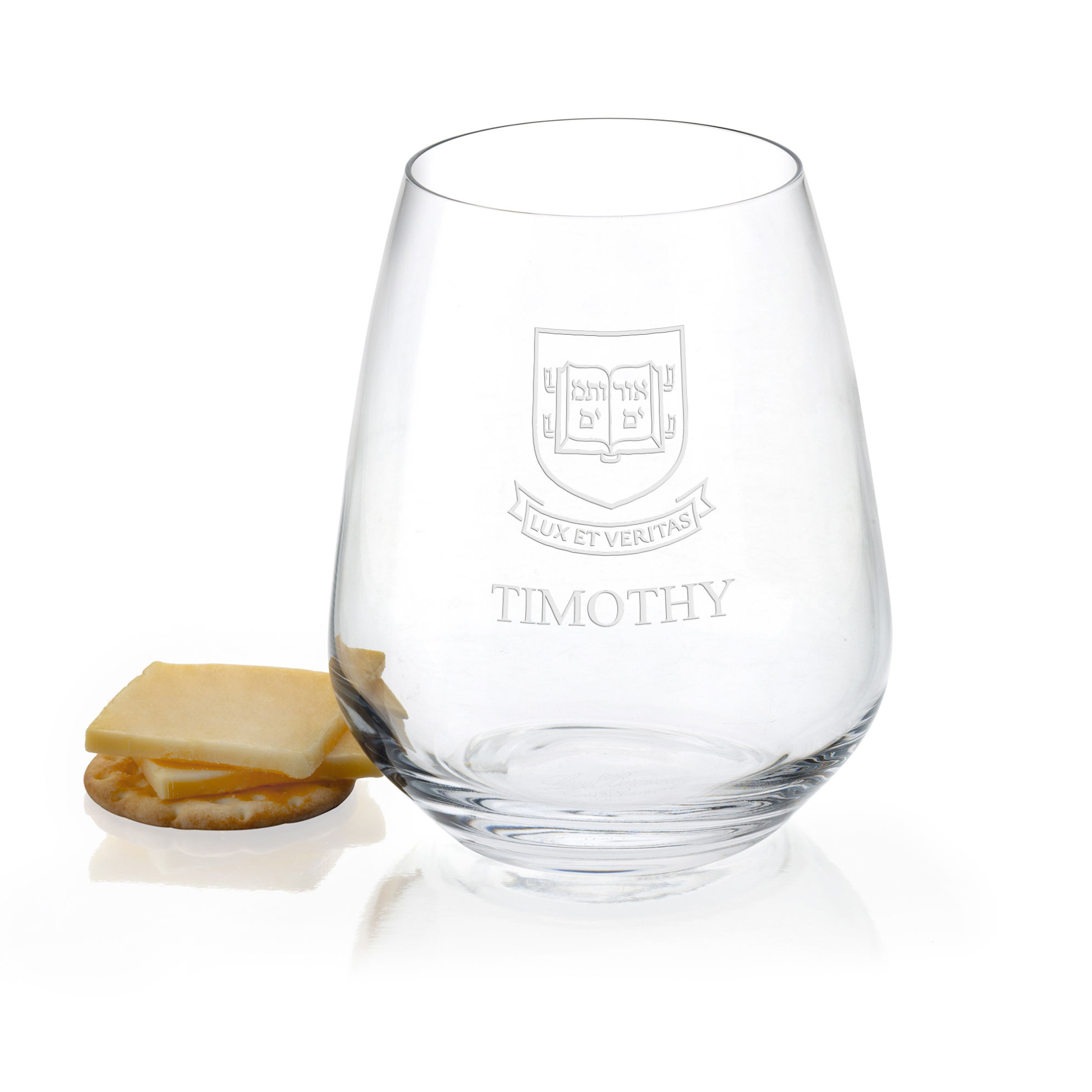 Yale Stemless Wine Glasses - Set of 4