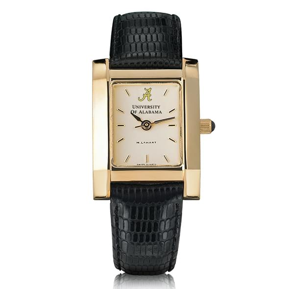 Alabama Women's Gold Quad Watch with Leather Strap