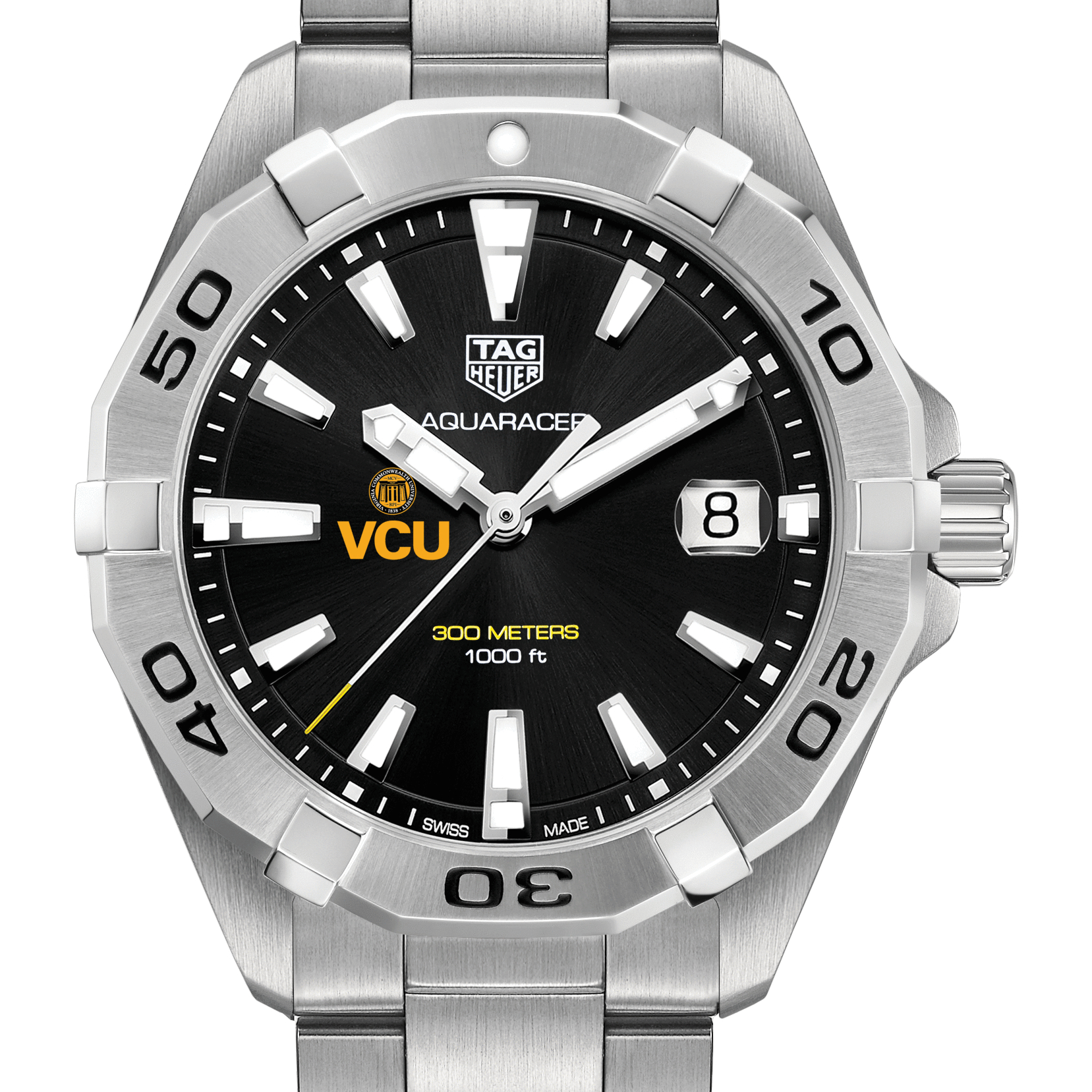 VCU Men's TAG Heuer Steel Aquaracer with Black Dial