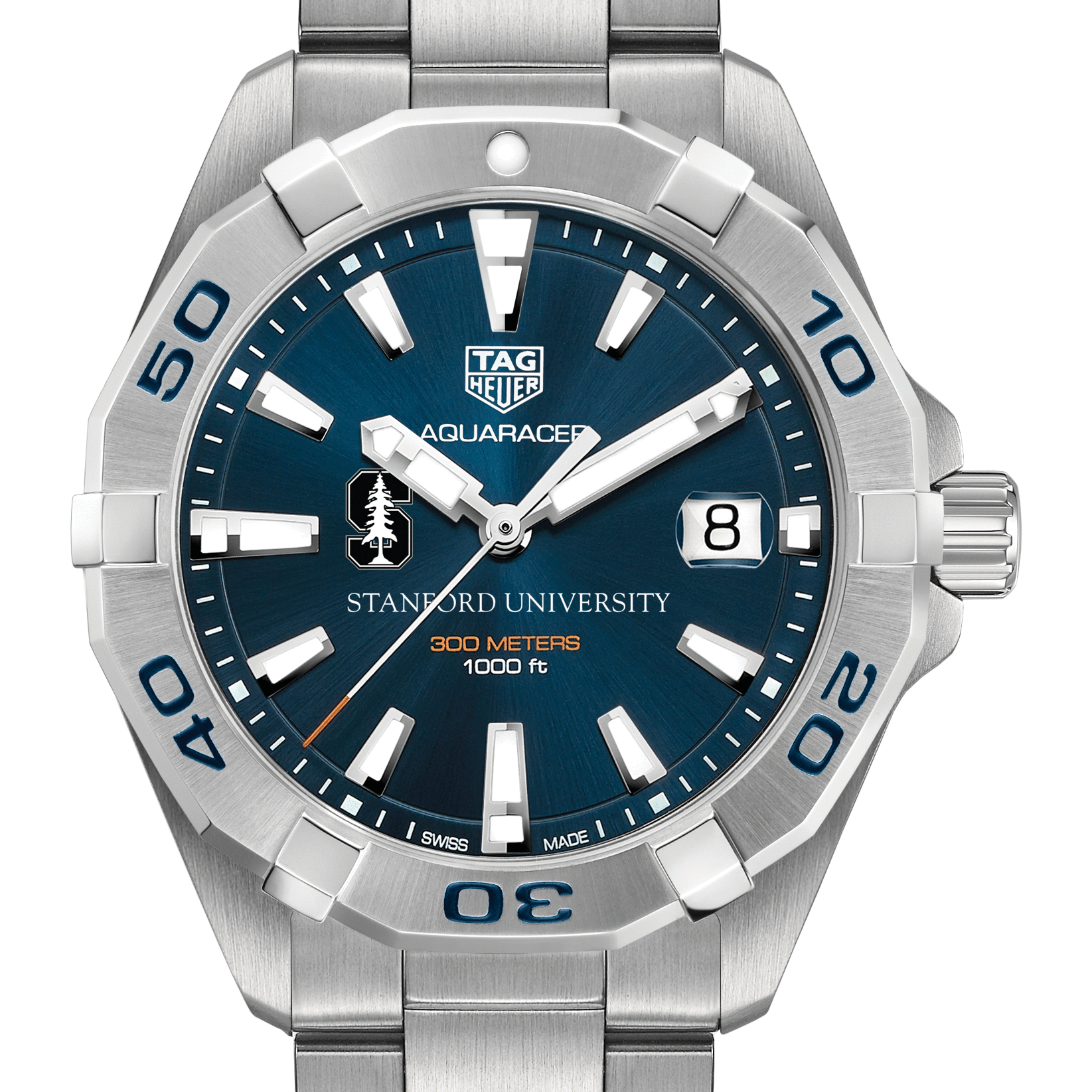 Stanford University Men's TAG Heuer Steel Aquaracer with Blue Dial