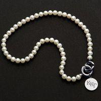Kappa Kappa Gamma Pearl Necklace with Sterling Silver Charm Image-1 Thumbnail