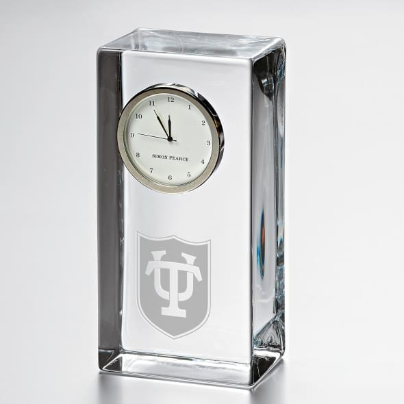 Tulane Tall Glass Desk Clock by Simon Pearce