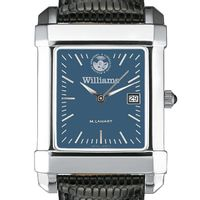 Williams College Men's Blue Steel Quad with Leather Strap