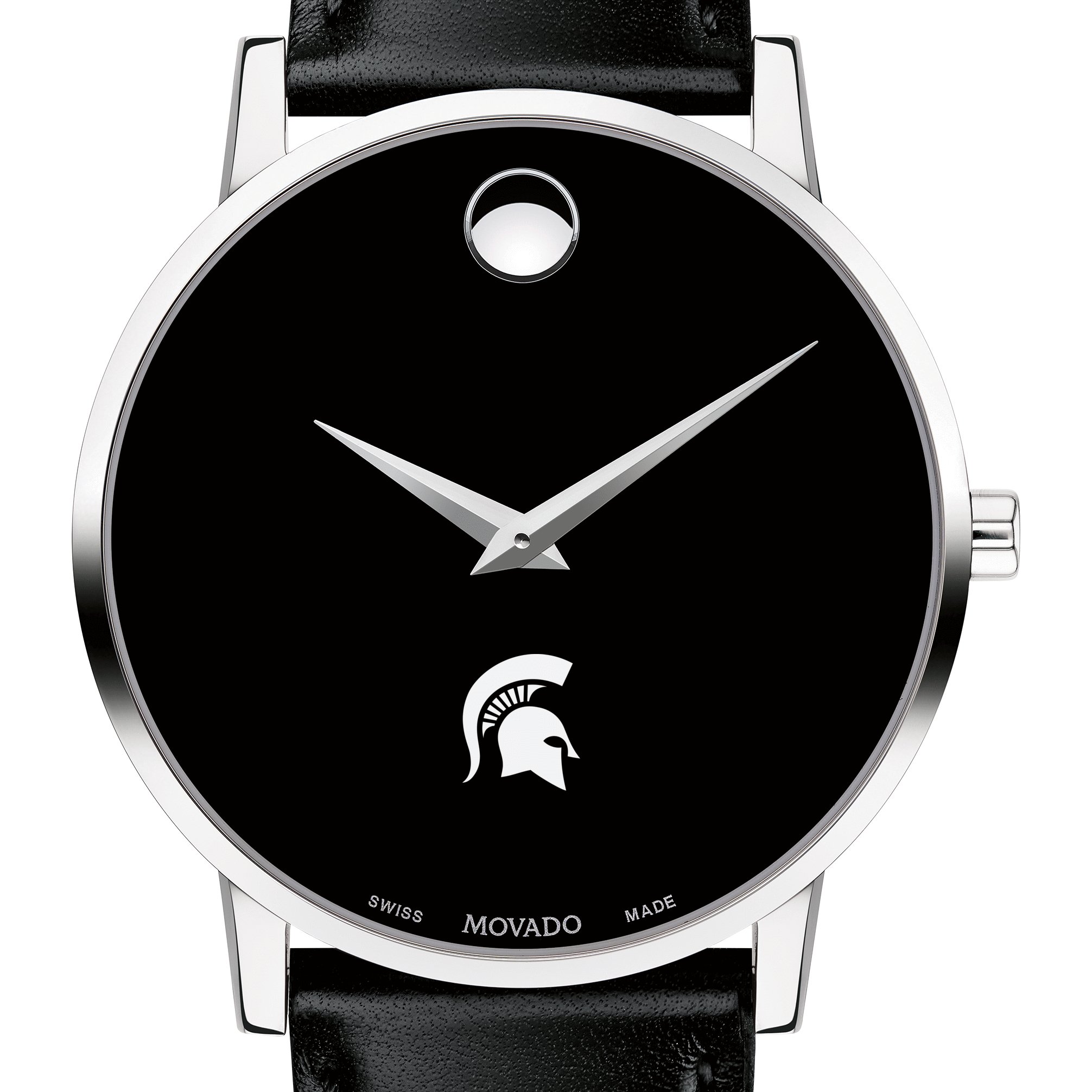 Michigan State Men's Movado Museum with Leather Strap