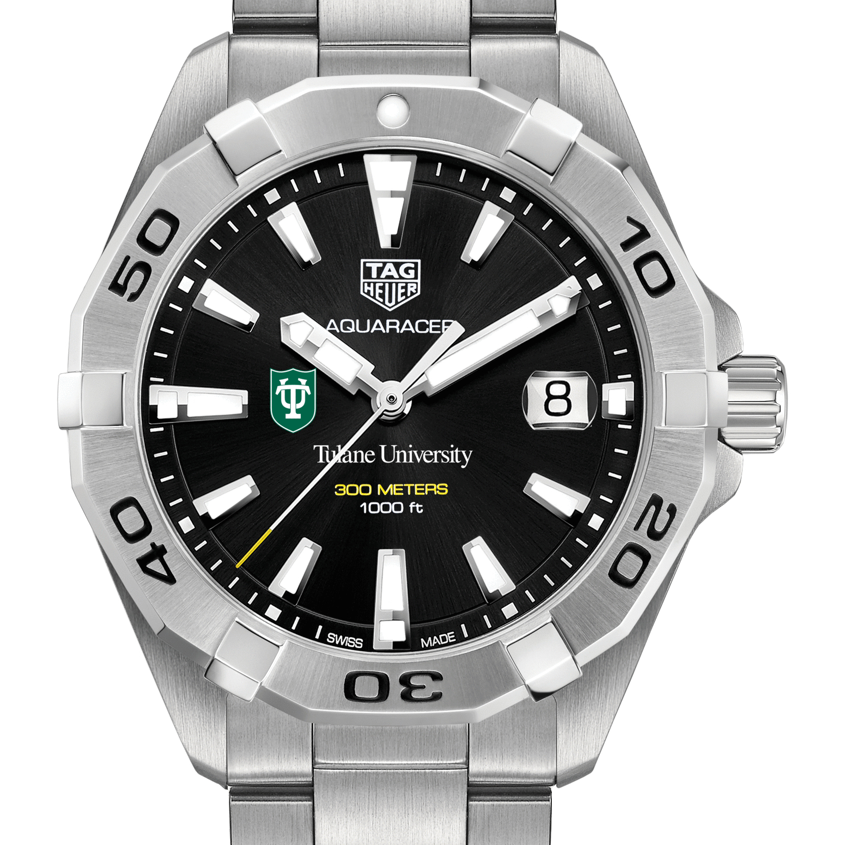 Tulane Men's TAG Heuer Steel Aquaracer with Black Dial