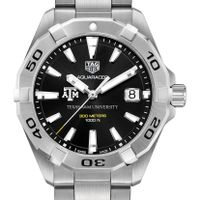 Texas A&M Men's TAG Heuer Steel Aquaracer with Black Dial