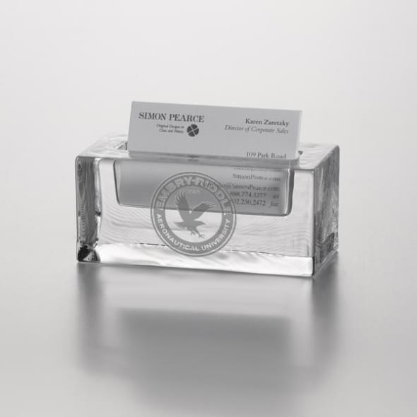 Embry-Riddle Glass Business Cardholder by Simon Pearce