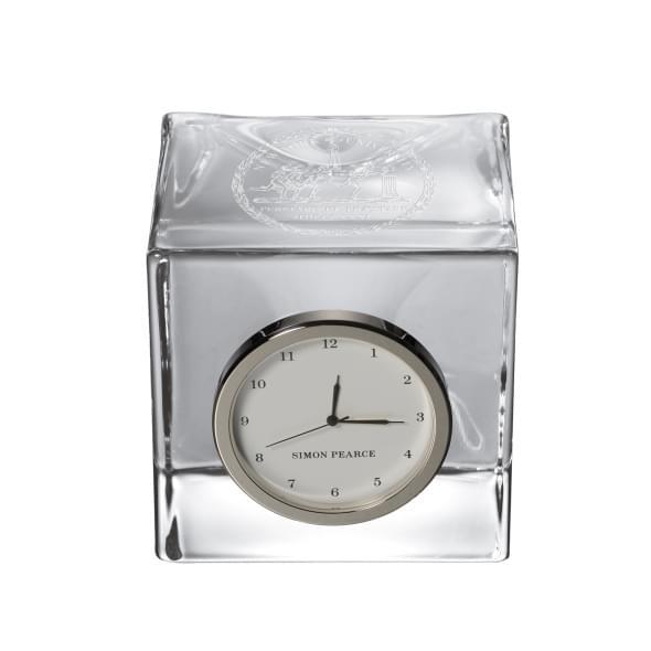 NYU Glass Desk Clock by Simon Pearce