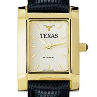 Texas Women's Gold Quad Watch with Leather Strap