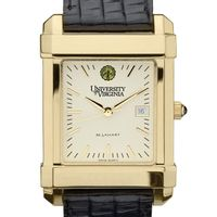 UVA Men's Gold Quad Watch with Leather Strap