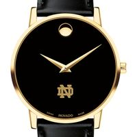 Notre Dame Men's Movado Gold Museum Classic Leather