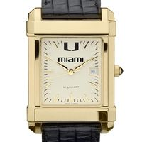 Miami Men's Gold Quad with Leather Strap