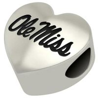 Ole Miss Heart Shaped Bead