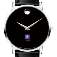 NYU Men's Movado Museum with Leather Strap