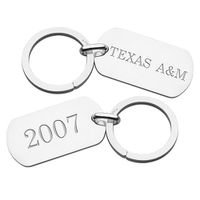 Texas A&M Sterling Silver Dog Tag Key Ring