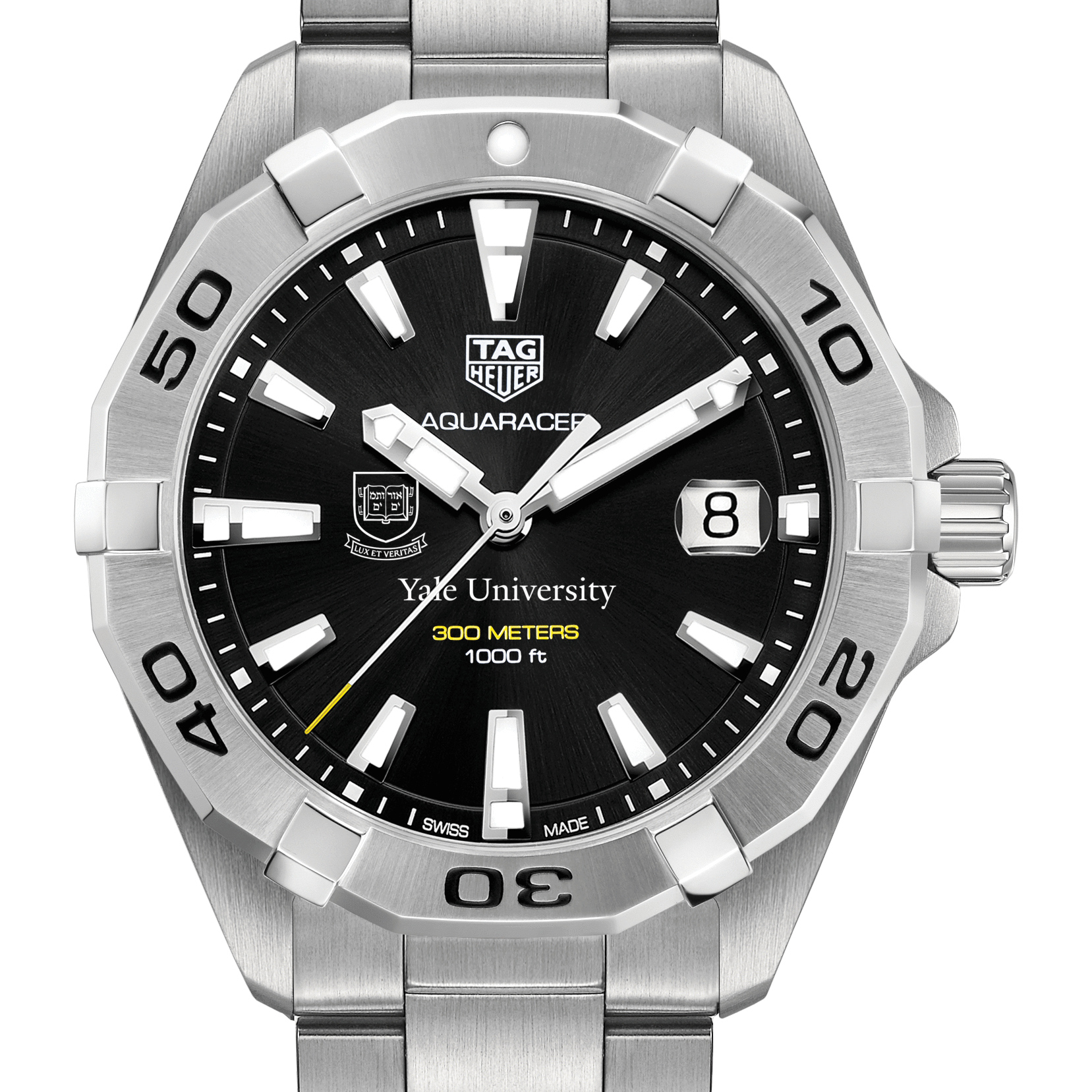 Yale Men's TAG Heuer Steel Aquaracer with Black Dial