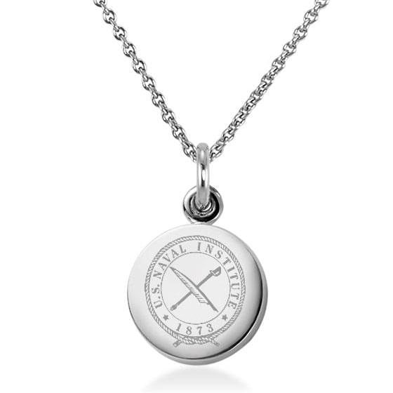 USNI Sterling Silver Necklace with Silver Charm Image-1