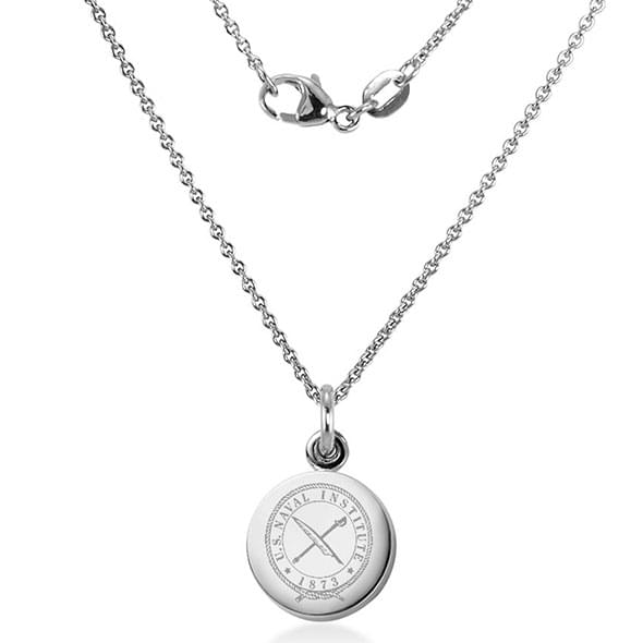 USNI Sterling Silver Necklace with Silver Charm Image-2