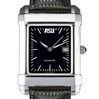 ASU Men's Black Quad Watch with Leather Strap