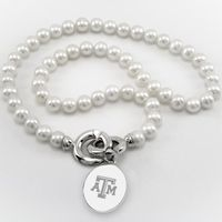 Texas A&M Pearl Necklace with Sterling Silver Charm