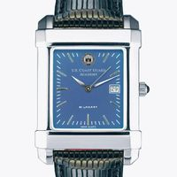 Coast Guard Academy Men's Steel Quad Blue Dial with Leather