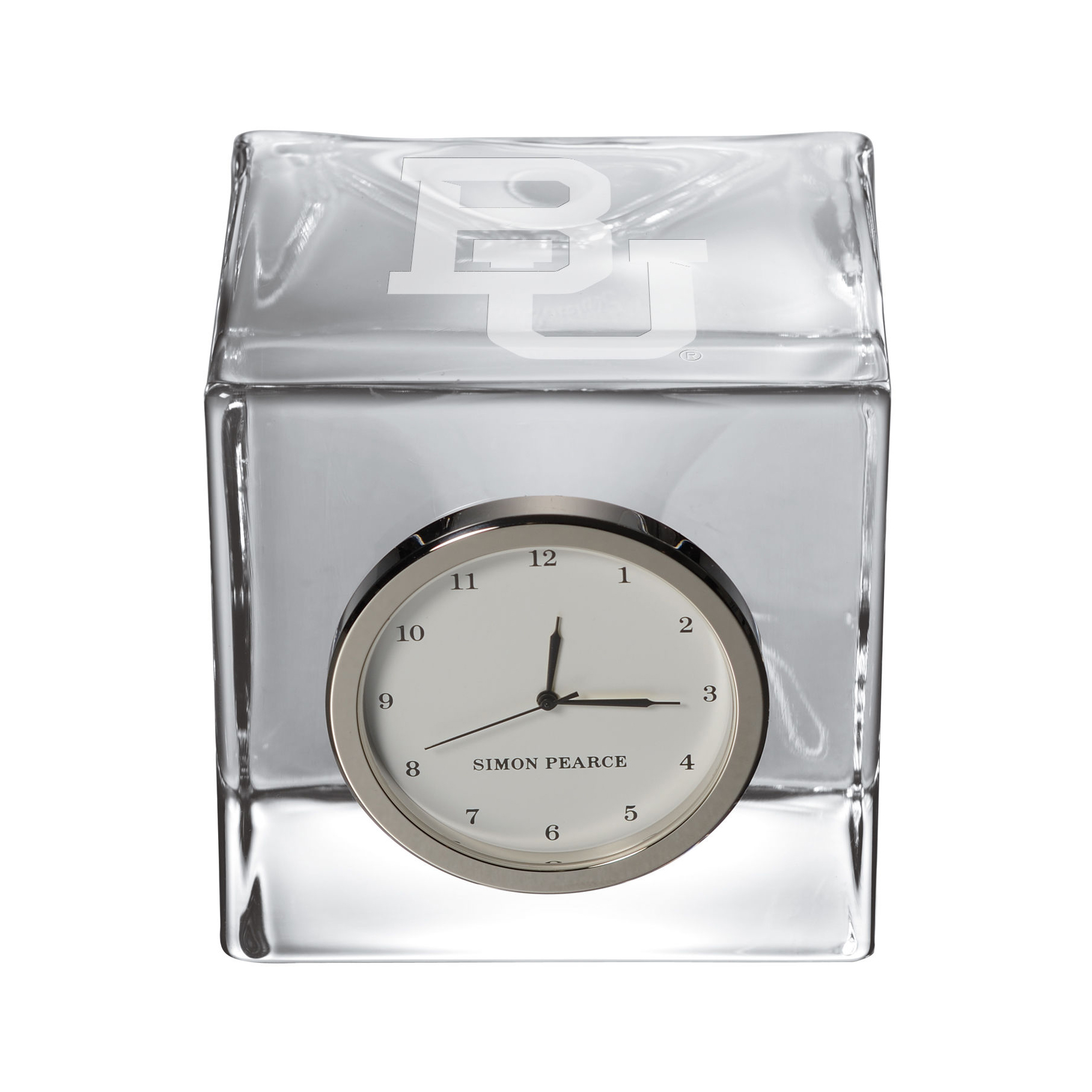 Baylor Glass Desk Clock by Simon Pearce
