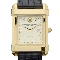WUSTL Men's Gold Quad Watch with Leather Strap
