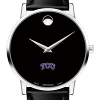 TCU Men's Movado Museum with Leather Strap