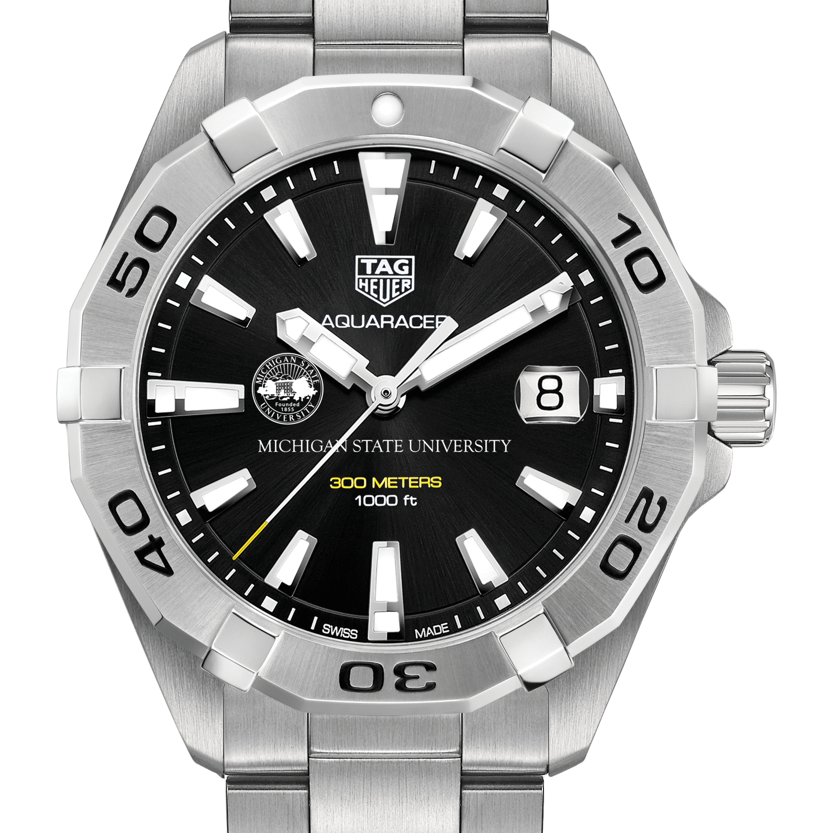 Michigan State Men's TAG Heuer Steel Aquaracer with Black Dial