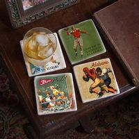 Alabama Vintage Football Marble Coasters