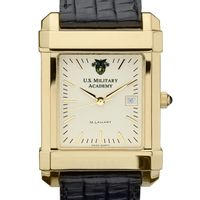 West Point Men's Gold Quad Watch with Leather Strap Image-1 Thumbnail