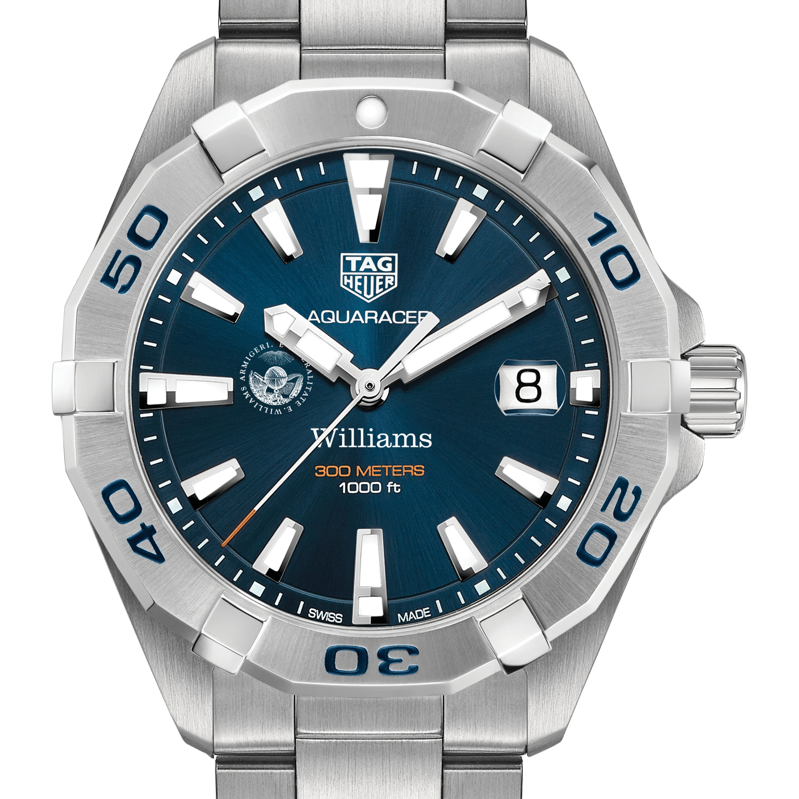 Williams College Men's TAG Heuer Steel Aquaracer with Blue Dial
