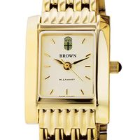 Brown Women's Gold Quad Watch with Bracelet