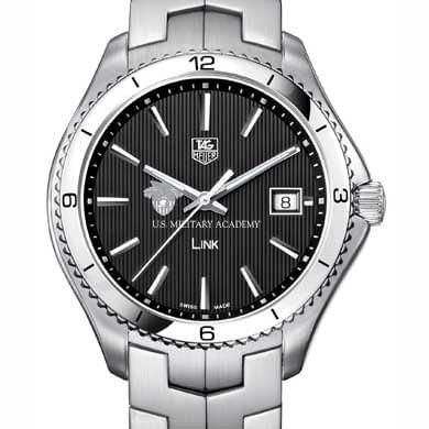 West Point TAG Heuer Men's Link Watch with Black Dial