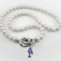 Delta Gamma Pearl Necklace with Greek Letter Charm Image-1 Thumbnail