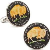 Hand Painted USA Buffalo Nickel Cufflinks