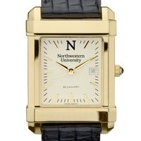 Northwestern Men's Gold Quad Watch with Leather Strap Image-1 Thumbnail