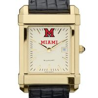 Miami University Men's Gold Quad with Leather Strap