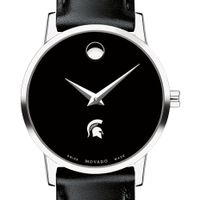 Michigan State Women's Movado Museum with Leather Strap