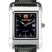 Auburn Men's Black Steel Quad with Leather Strap