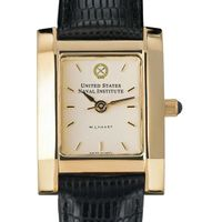 USNI Women's Gold Quad Watch with Leather Strap