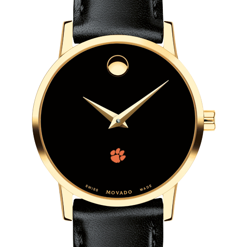 Clemson Women's Movado Gold Museum Classic Leather